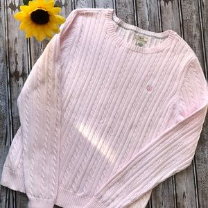 Izod pink cable knit sweater